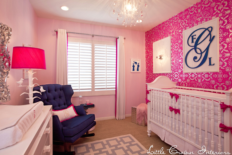 Glam hot pink nursery by little crown interiors for Baby pink bedroom ideas