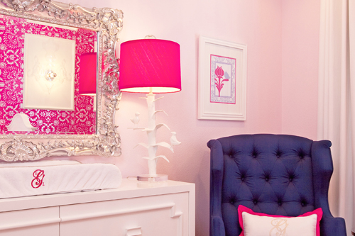 Hot pink damask nursery