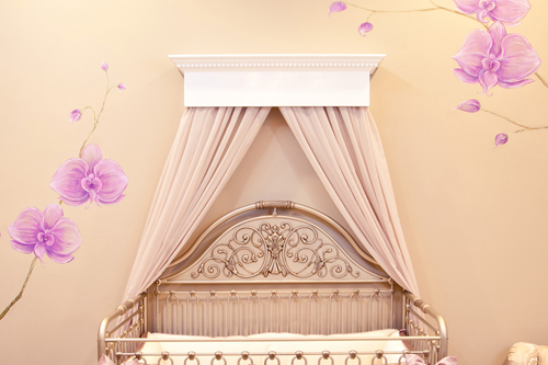 Taupe and purple nursery