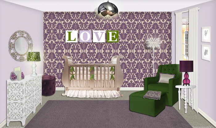 Purple damask nursery