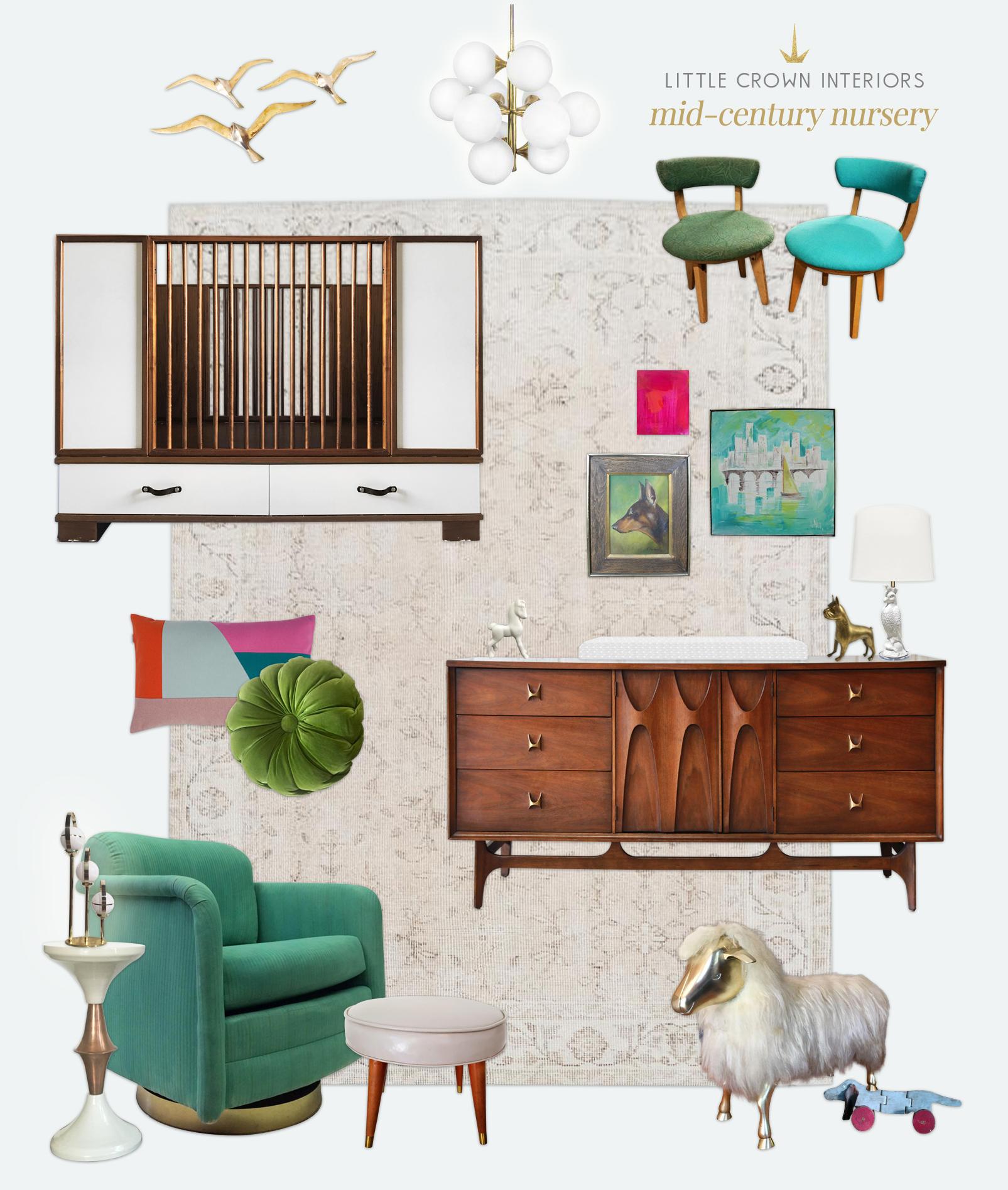 Mid Century Modern Nursery | Little Crown Interiors