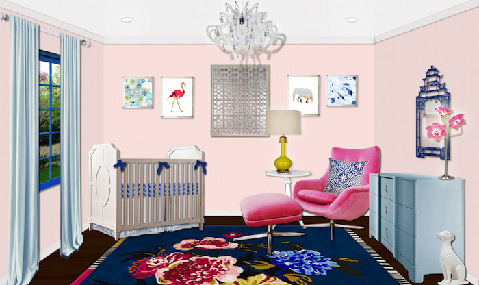 pink and blue nursery design