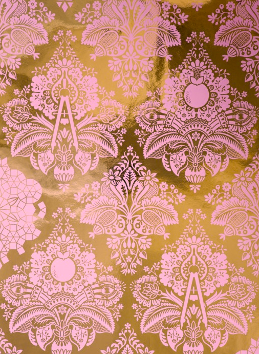 Pink and Gold Damask Nursery Wallpaper