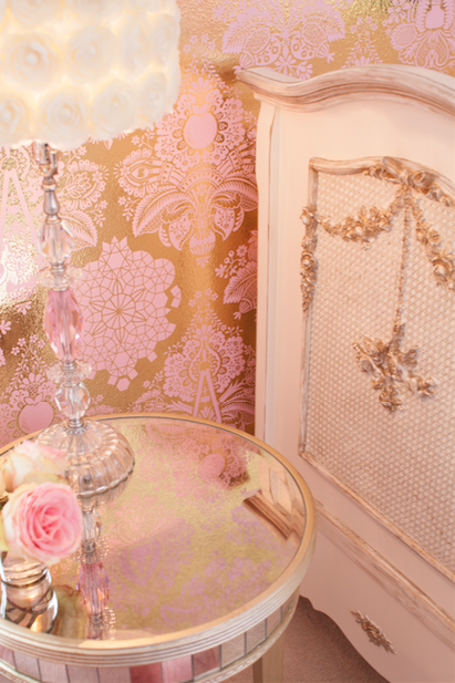 Metallic Pink and Gold Damask Wallpaper | Little Crown Interiors Shop