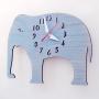 elephant nursery blue wall clock