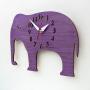 elephant nursery purple wall clock