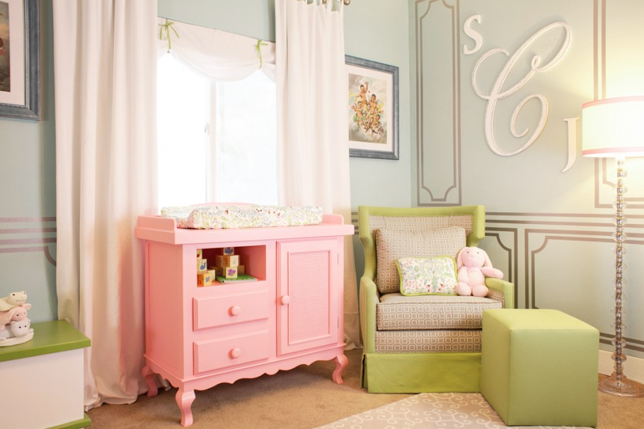 Laila Aliu0027s Nursery Featuring A Pink Painted Dresser By Newport Cottages | Little  Crown Interiors