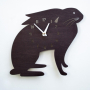 bunny nursery black wall clock