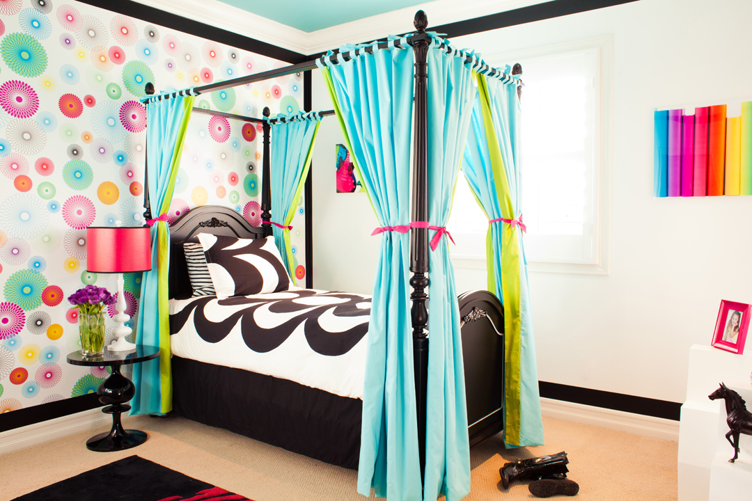 colorful girls bedroom