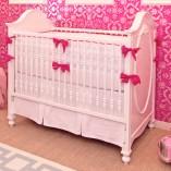 hot pink white crib bedding