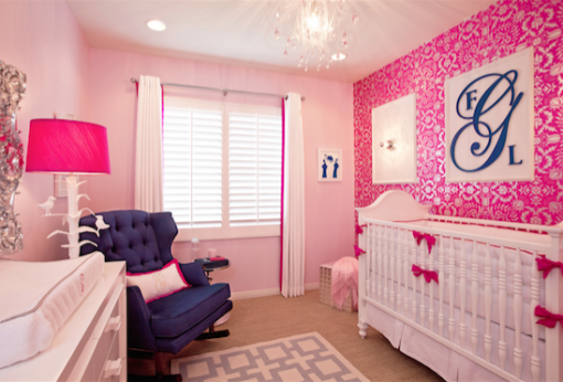 Hot Pink Damask Wallpaper and Custom Crib Bedding | Little Crown Interiors Shop