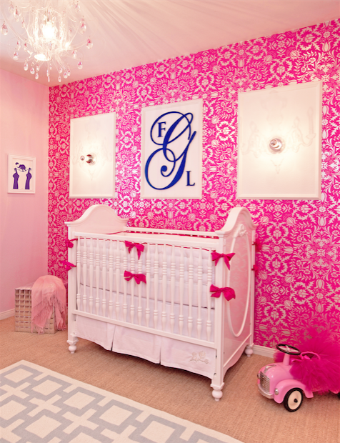 Hot Pink Damask Wallpaper, Custom Crib Bedding and Acrylic Chandelier | Little Crown Interiors Shop