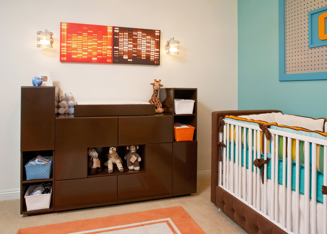 modern orange and aqua nursery