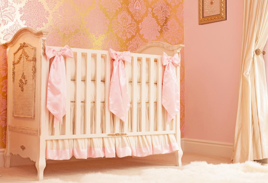 pink custom crib bedding