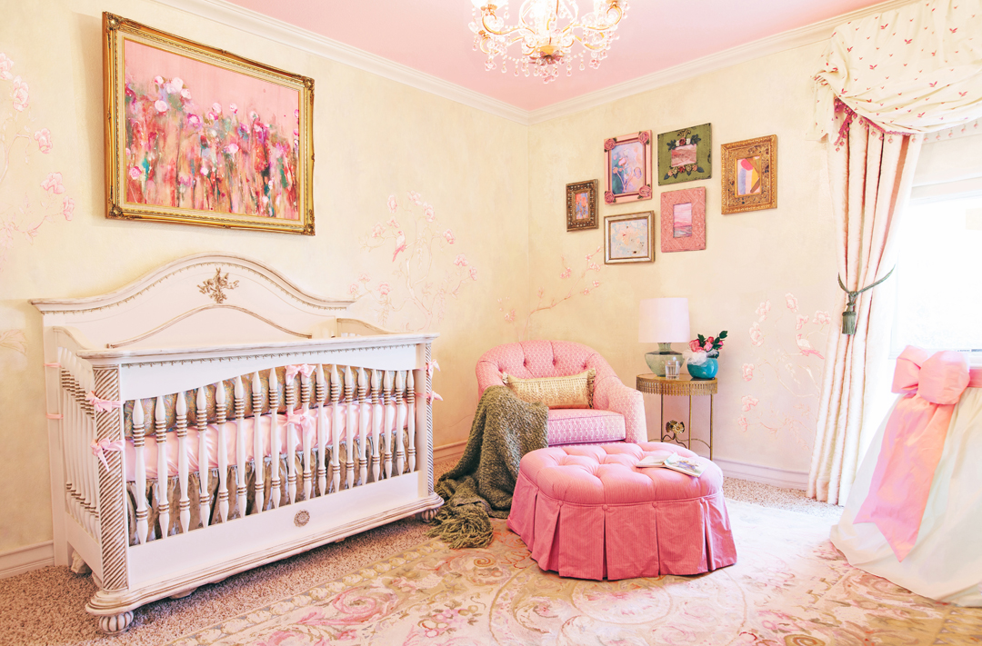 Girl's Pink Traditional Nursery by Little Crown Interiors