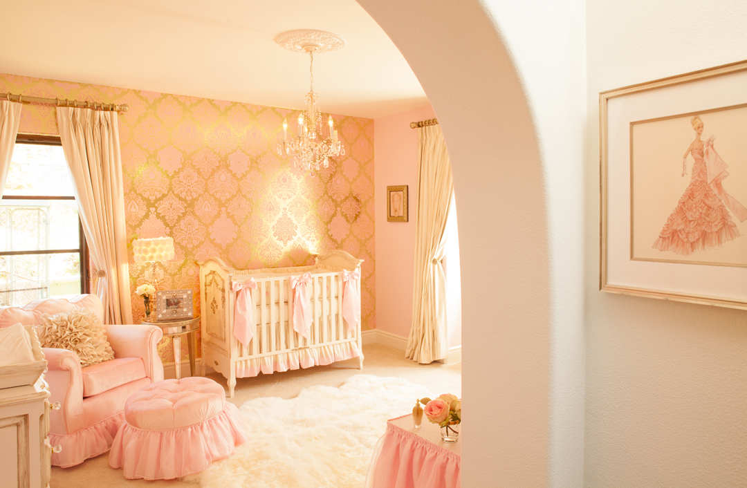 Pink gold nursery design