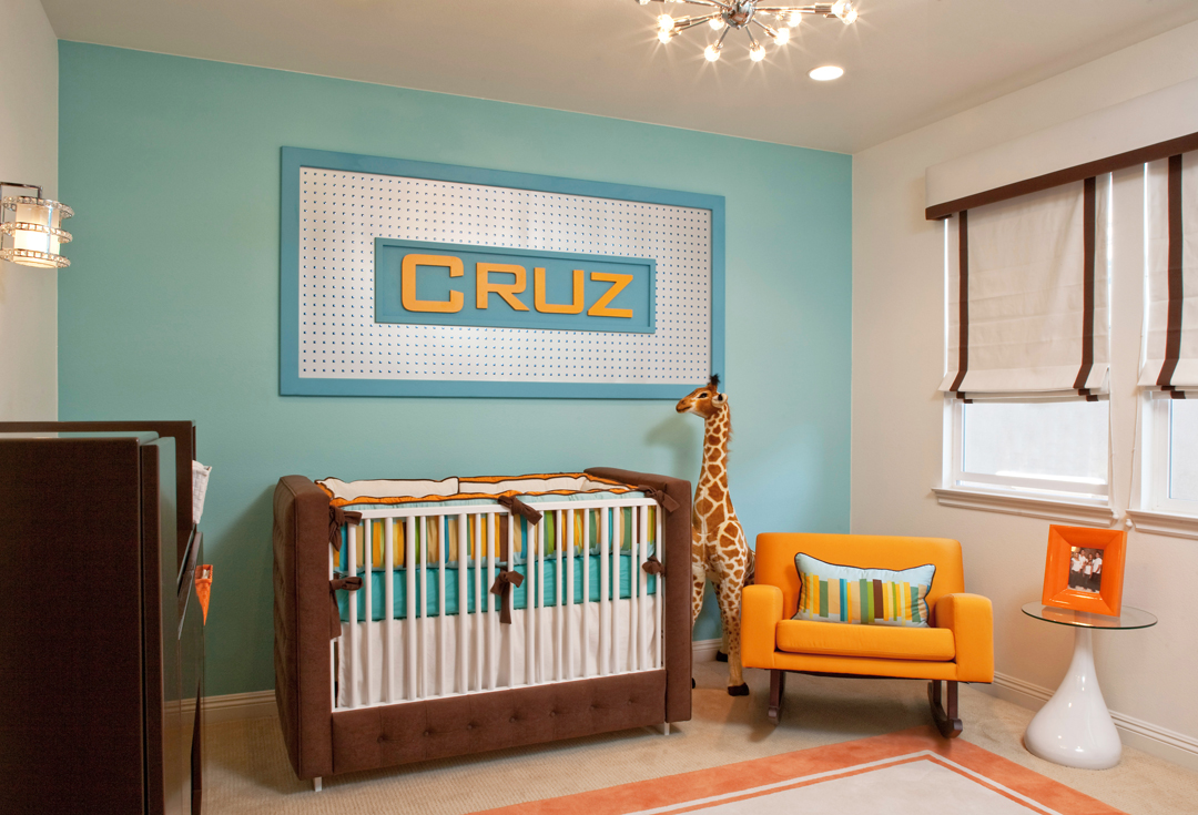 Retro modern nursery by little crown interiors for Cool boy nursery ideas