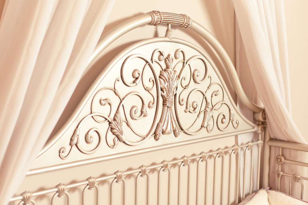 silver iron crib