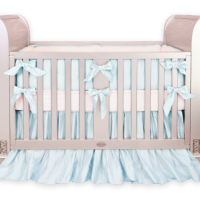 Silk Baby Blue Crib Bedding