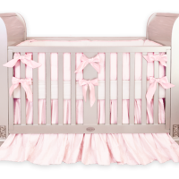 Custom pink silk crib bedding