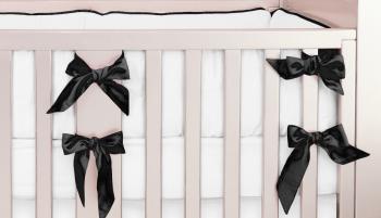 Silk black and white crib bedding