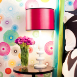 This whimsical Multi-Color Spirograph Removable Wallpaper was designed by French Bull for Little Crown Interiors. It is a bright and bold pattern with a cheery color palette. Made from easy peel-and-stick vinyl, no glue required and no damage to your walls! | Available now at the Little Crown Interiors Boutique