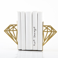 Metallic Gold Modern Diamond Bookends