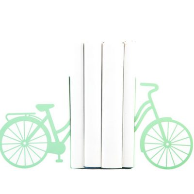 Mint green bicycle bookends