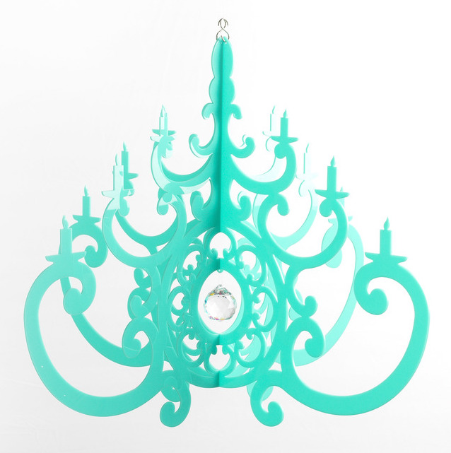 Acrylic turquoise chandelier mobile little crown interiors chandelier mobile mozeypictures Choice Image