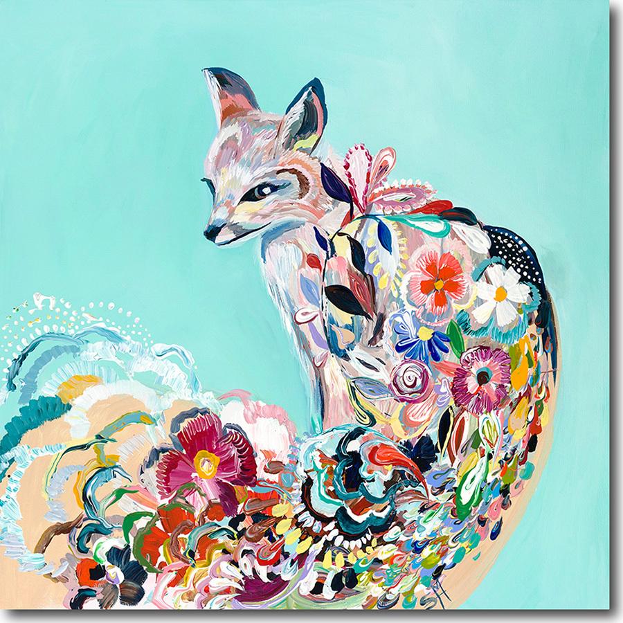 Aqua Floral Fox Artwork Little Crown Interiors