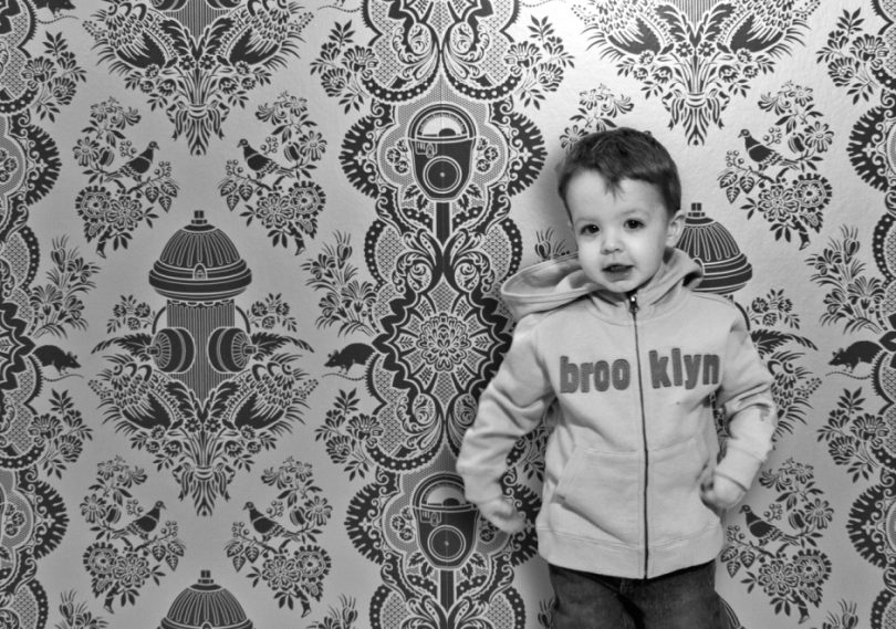 Boy's Damask Wallpaper for Nursery