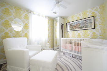 Boy's Damask Wallpaper in Yellow