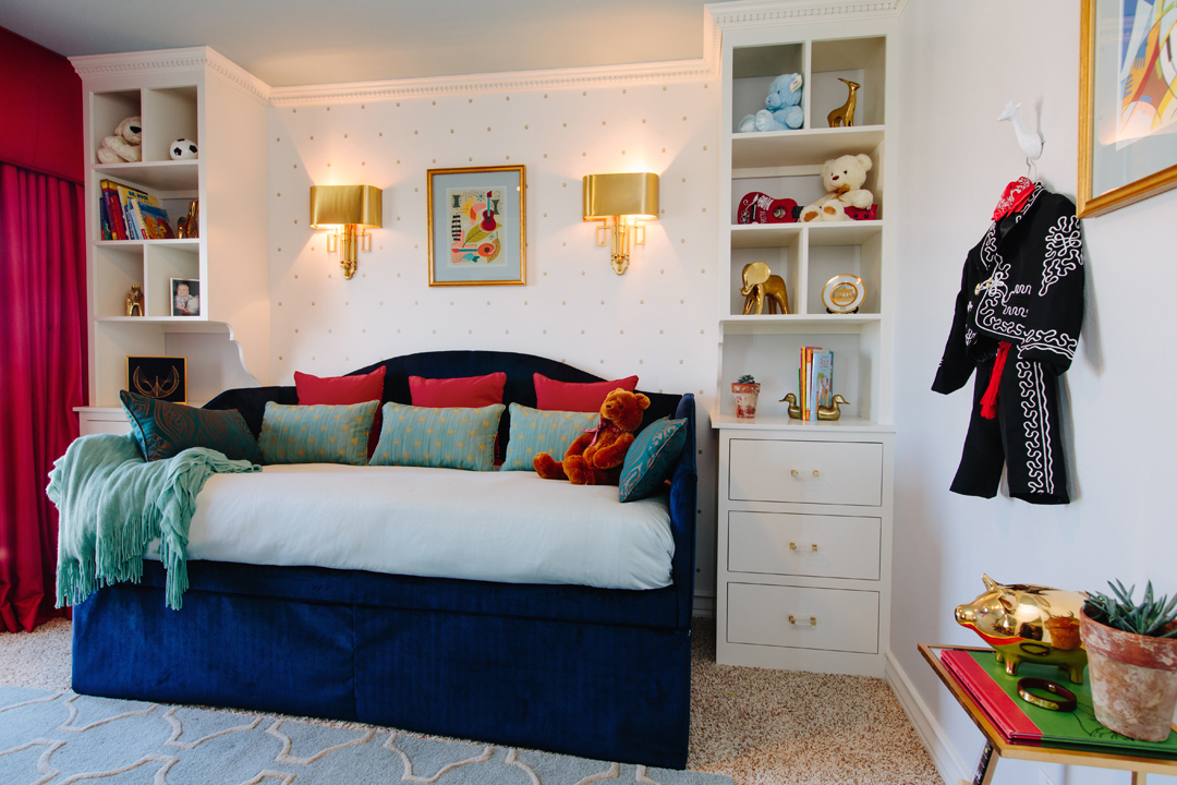 blue and red boys bedroom
