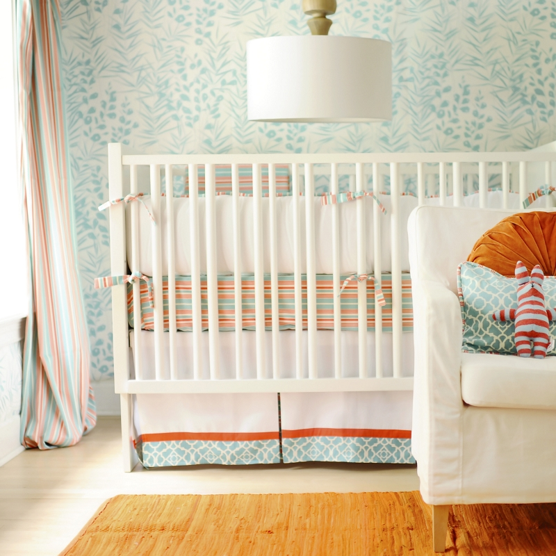 Beach Nursery Crib Bedding Aqua And Orange