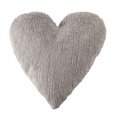 grey heart pillow
