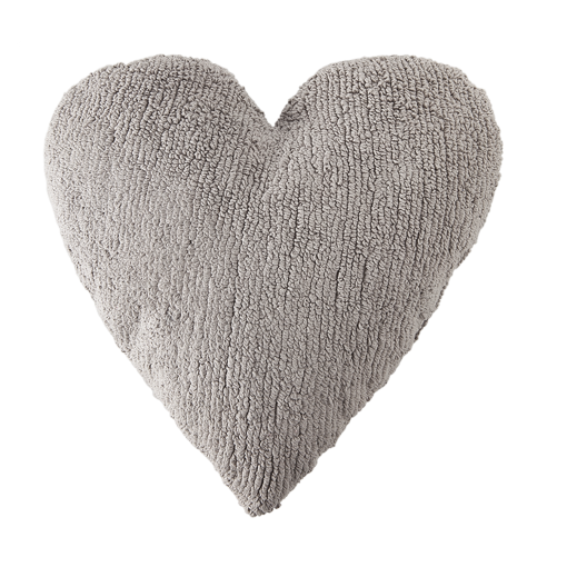 grey heart pillow