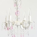 White and pink crystal chandelier