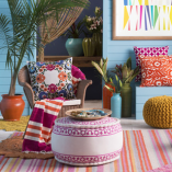 pink embroidered moroccan pouf