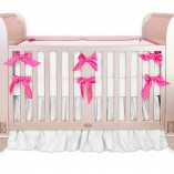 hot pink silk crib bedding