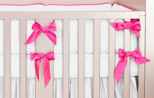 hot pink silk crib bedding