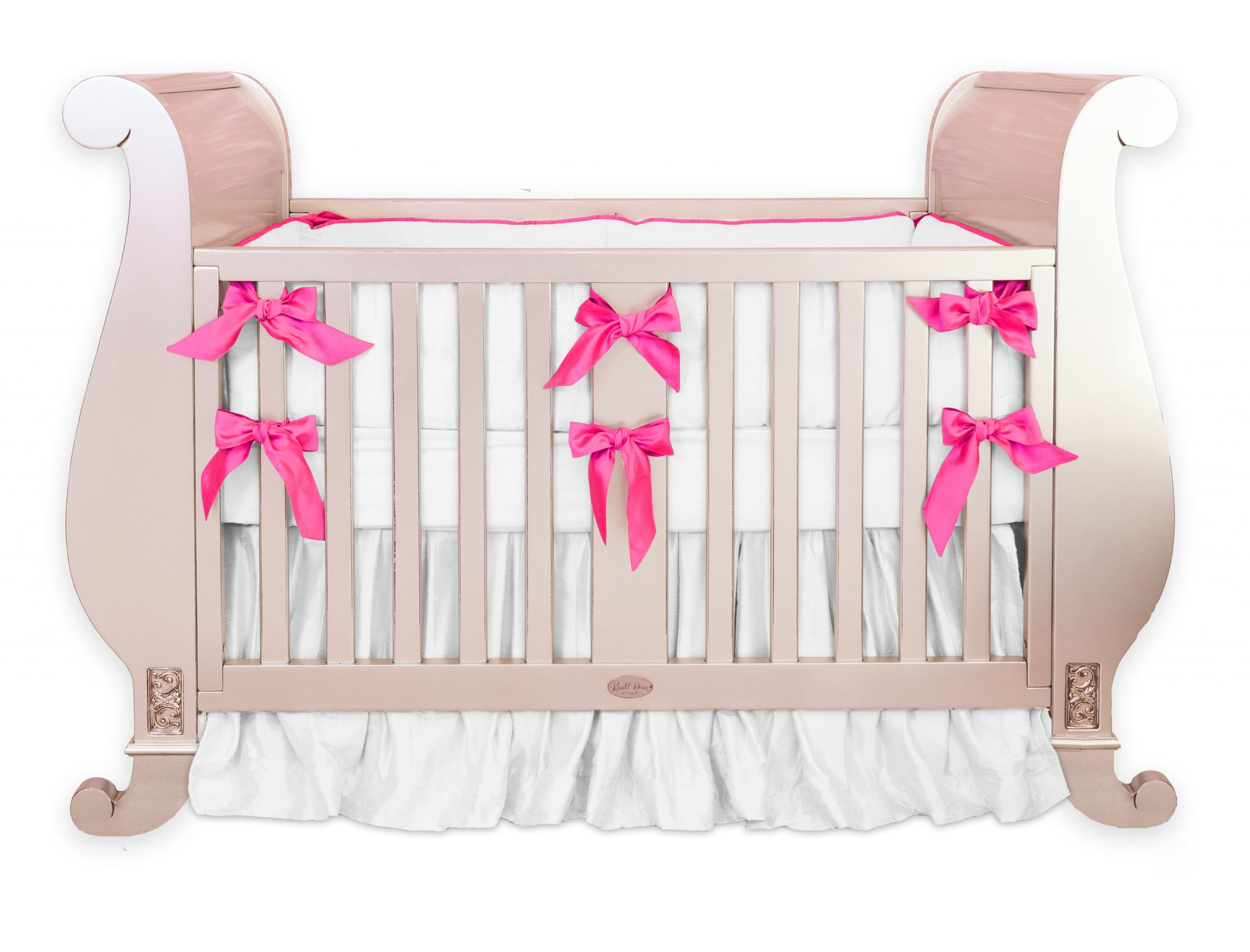 Hot pink silk crib bedding set little crown interiors for Hot pink bedroom set
