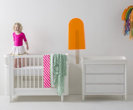 white spindle changing table