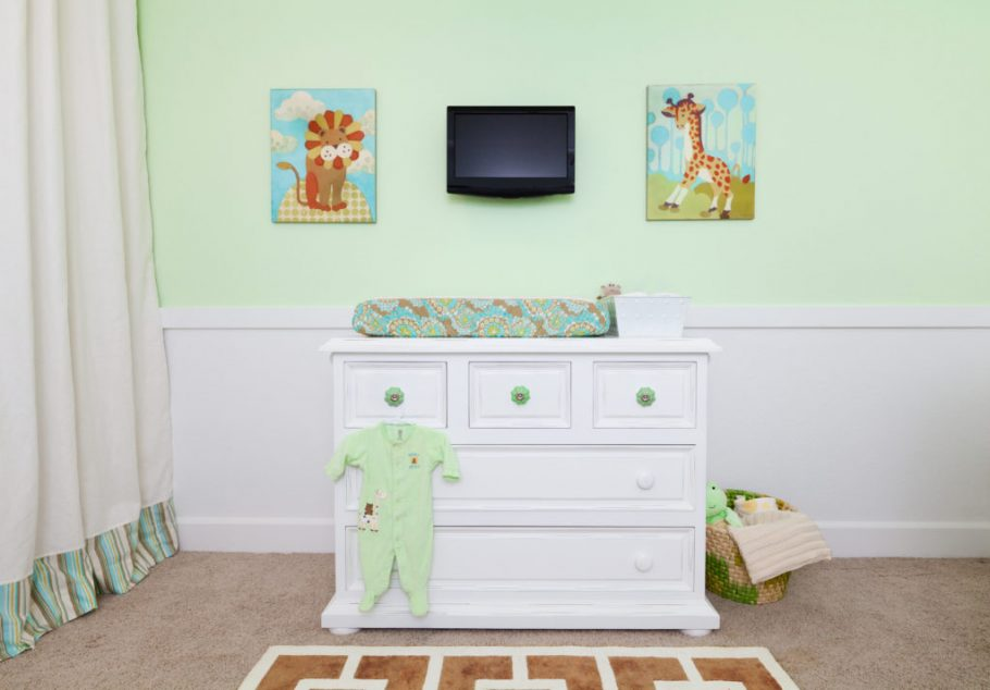 Mint Green Nursery with Animal Wall Art by Little Crown Interiors