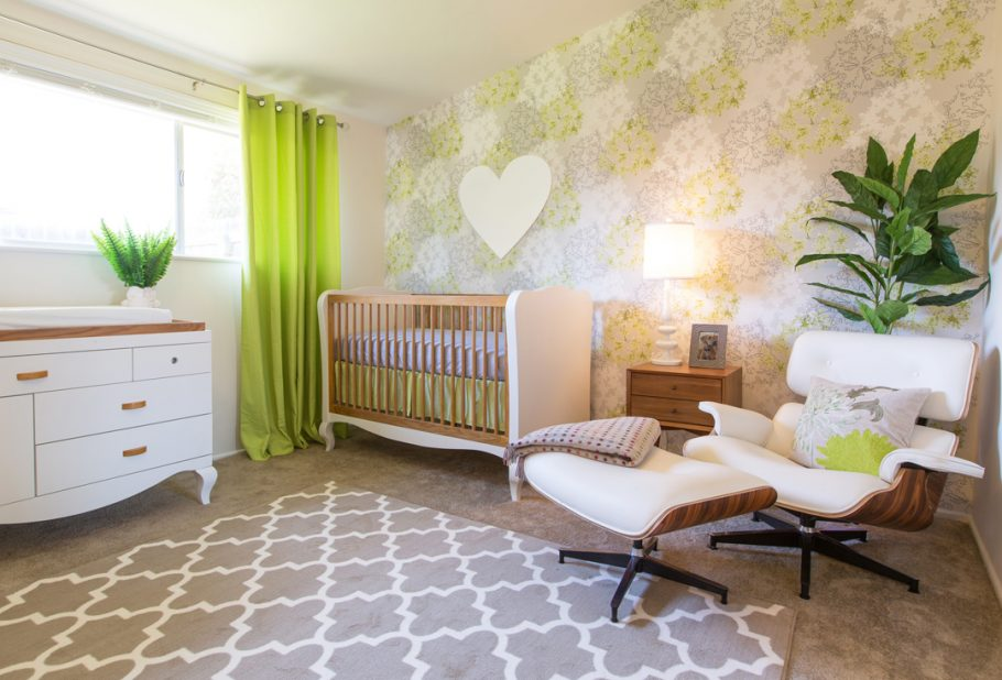 Mid Century Modern Green Nursery by Little Crown Interiors