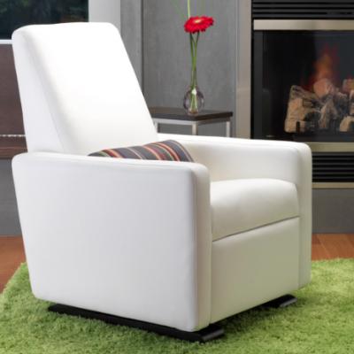 White Leather Glider | Little Crown Interiors