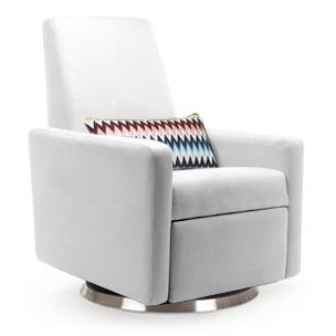 White Leather Modern Glider | Little Crown Interiors