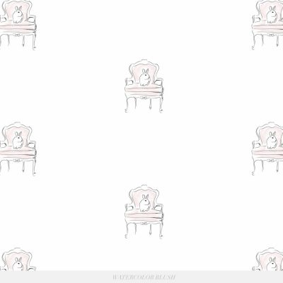 French Chair Bunny Wallpaper | Little Crown Interiors Shop
