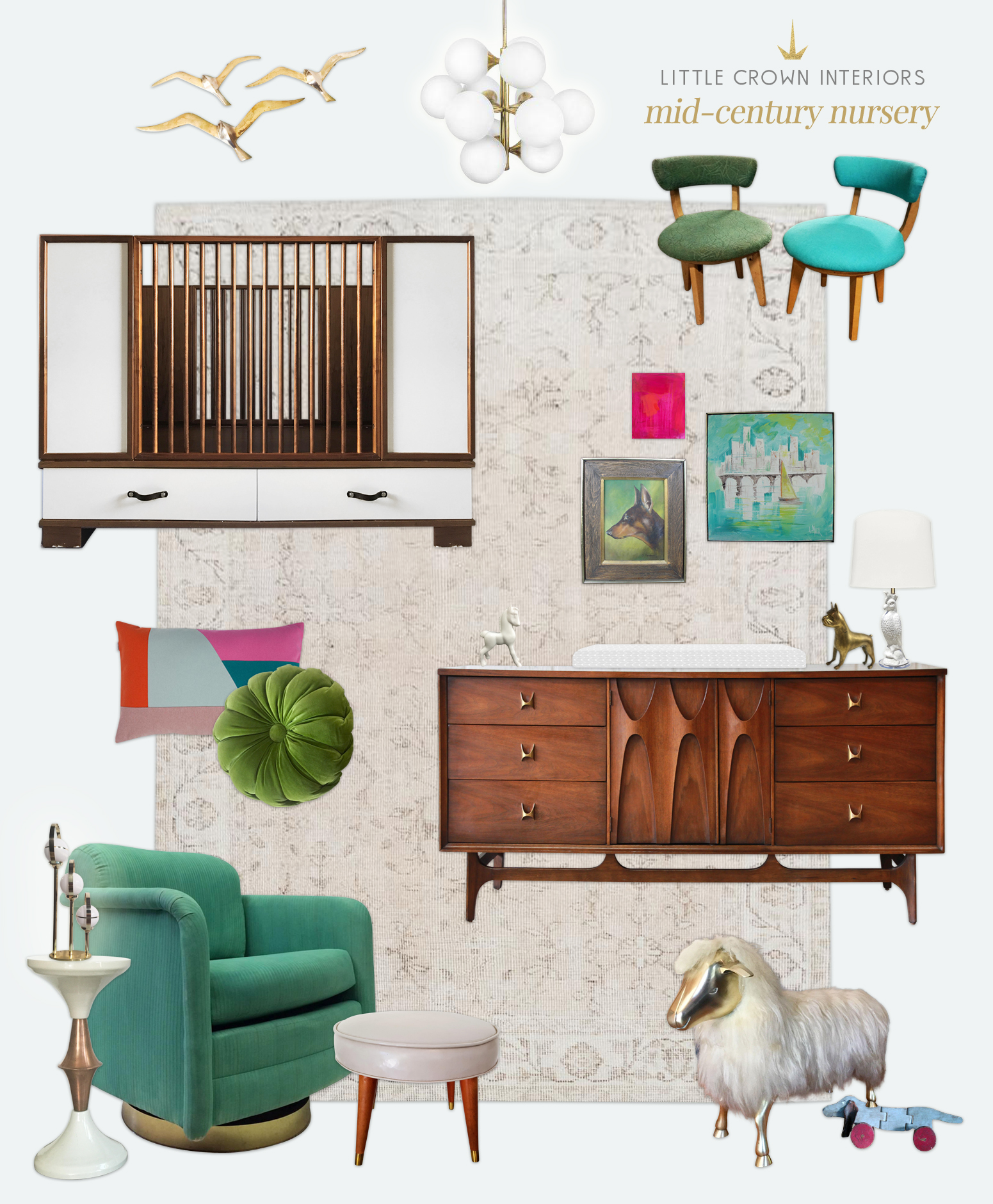 Charmant Mid Century Modern Nursery Design Board | Little Crown Interiors