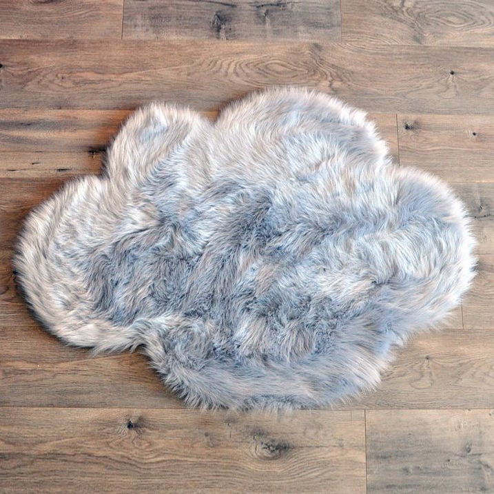 Washable Sheepskin Rugs For Dogs: Cloud Washable Faux Sheepskin Rug - Grey