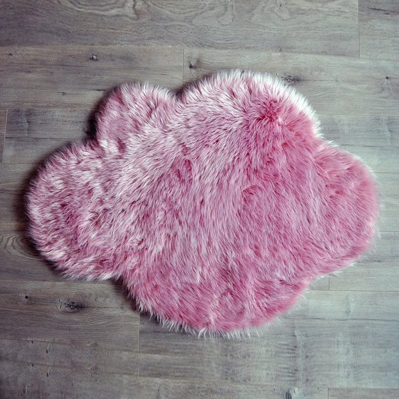 Washable Sheepskin Rugs For Dogs: Cloud Washable Faux Sheepskin Rug - Vintage Pink